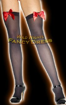 FANCY DRESS STOCKINGS # BLACK STOCKINGS - RED BOW